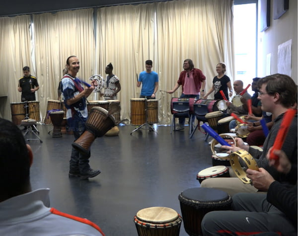 A group of people performing
