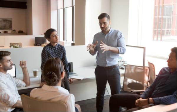 Business man team leader talk to diverse business