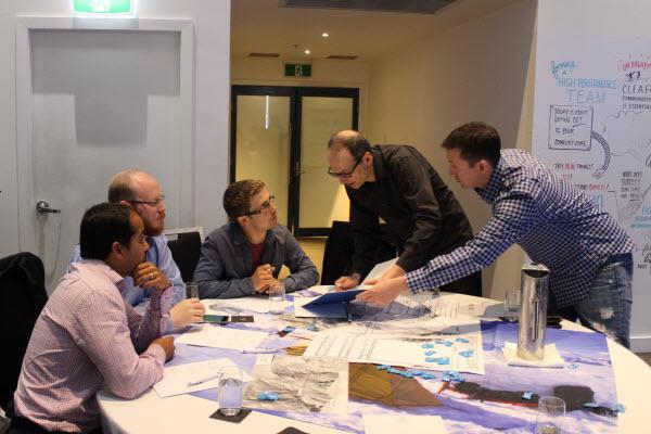 Team brainstorming in work