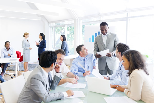 Group of multi ethnic corporate people in a business meeting