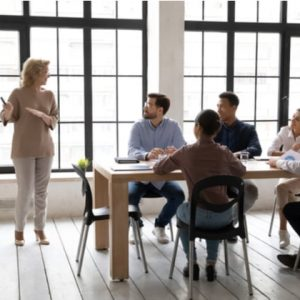 Businesswoman flip charts presentation