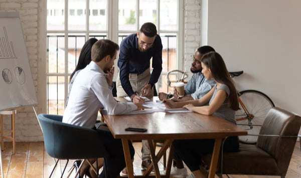 Business team listen to male executive manager