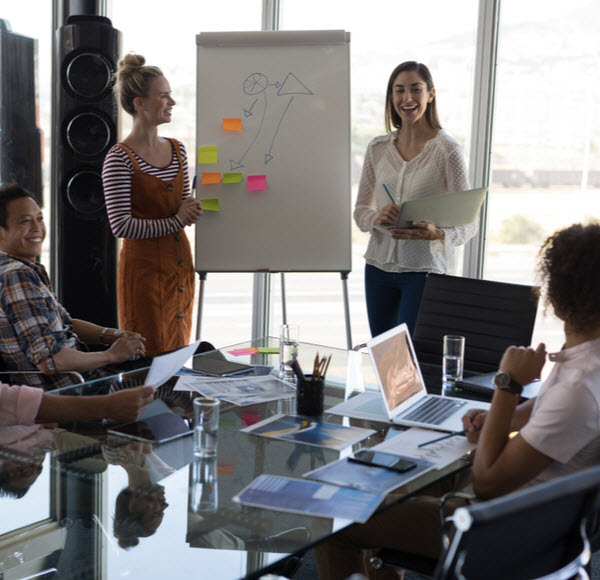 female executives explaining business strategy with a flip chart board to their business colleagues in modern office