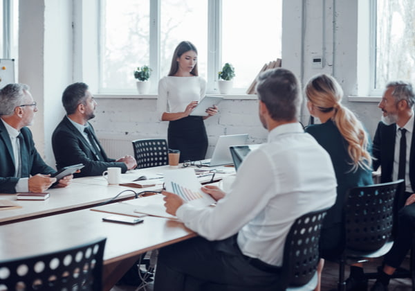 Professional business expert conducting meeting
