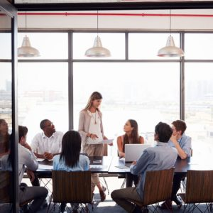 Woman standing at a meeting in a business boardroom
