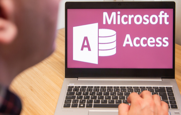 Access is used by a man on the laptop