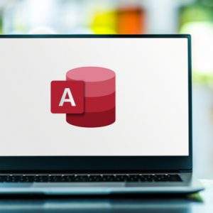 Laptop computer displaying logo of Microsoft Access
