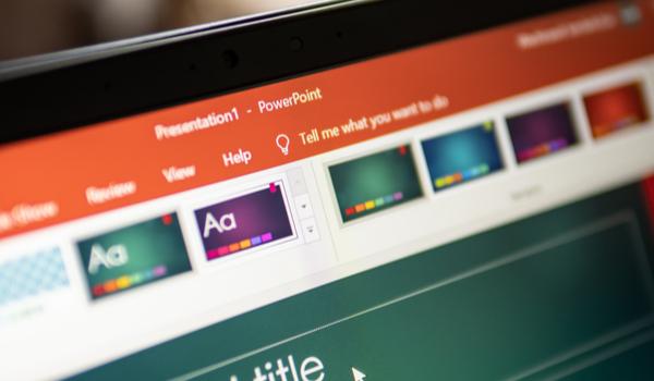 Microsoft PowerPoint, a presentation program developed by Microsoft, on computer screen