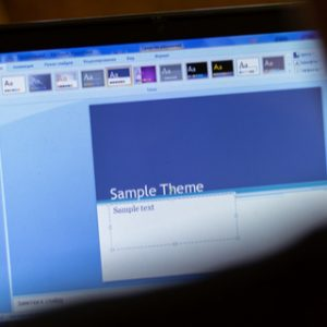 Microsoft PowerPoint application on laptop display