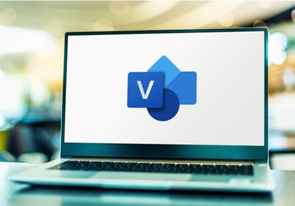 Laptop computer displaying logo of Microsoft Visio