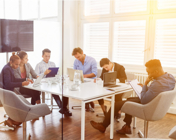 A team having a meeting inside an office room